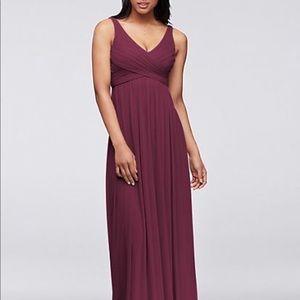 Long mesh dress- wine color- Bridesmaid dress